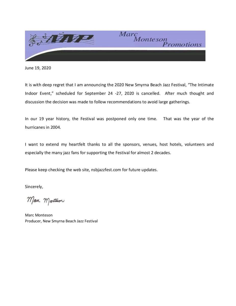 New Smyrna Beach Jazz Festival 2020 Cancellation