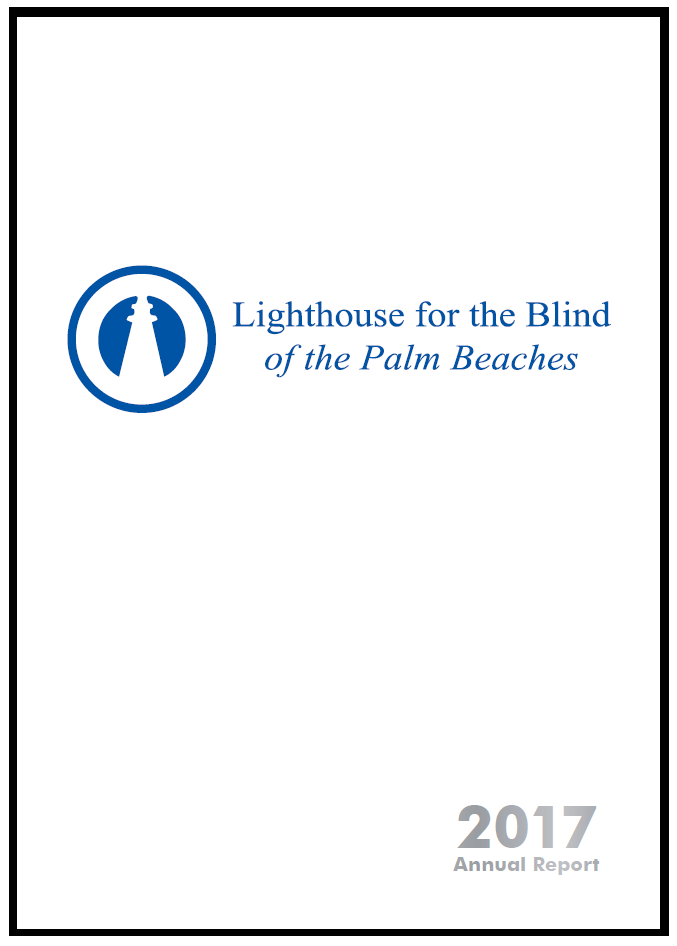Lighthouse for the Blind of the Palm Beaches 2016 annual report cover. White background with 70th anniversary logo