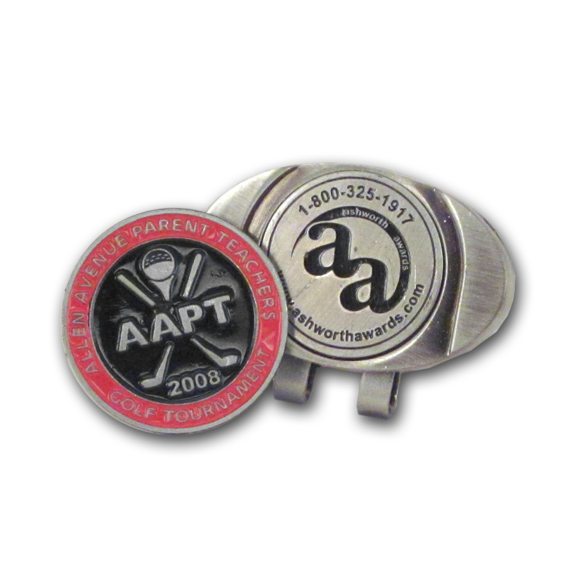 Custom and personalized ball markers and divot tools from Ashworth Awards.