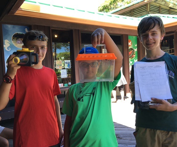 three boys standing in front of the naure center holding a magnifer, critter carrier, and data sheets.