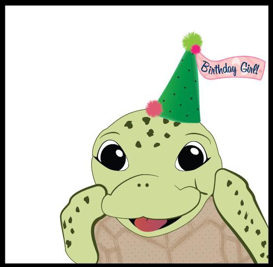 Cartoon sea turtle wearing a birthday hat.