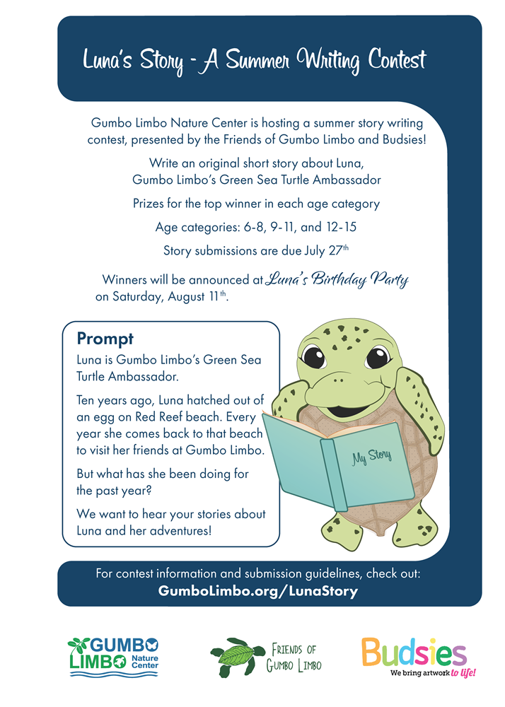 cartoon of sea turtle with story contest information