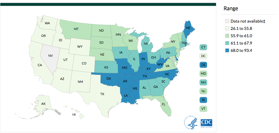 Lung and Brochus Cancer Incidence Rates by State, 2013­